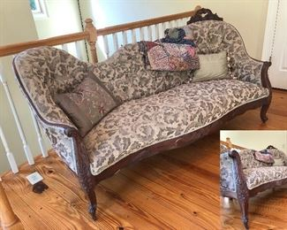 Victorian sofa with nice wood carved details
