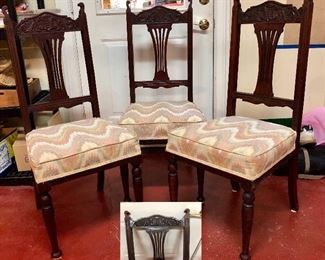 Great Mission style chairs, pictured are 3; There are three more matching chairs, six all together
