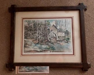 'Loudermilk Mill' picture in unique wood frame