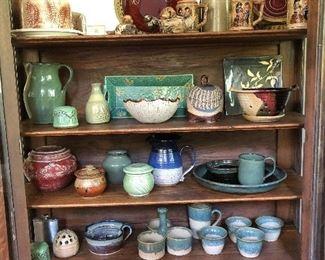 Pottery bowls, pitchers, mugs, jars, dishes....
