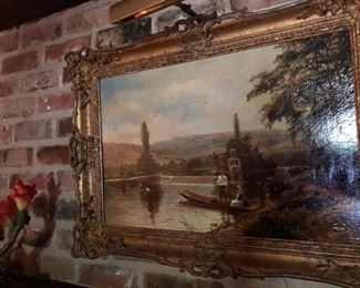 Original 19th century oil painting  Signed Theo Hines