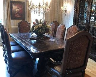 "STUNNING MARGE CARSON DINING ROOM HAS LARGE TABLE        (98"" BY 52"") WITH 10 CHAIRS AND 1 26"" LEAF!"