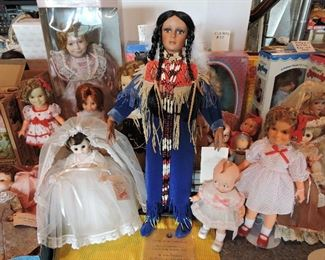Madame Alexander bride, Blackfeet tribe woman, Kewpie, Shirley Temple