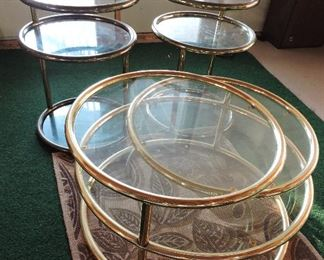 Mid-century brass and glass coffee table and end tables