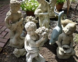 Vintage concrete garden statuary and fountain pieces