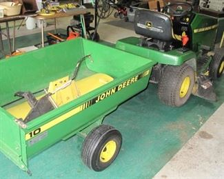John Deere LX 172 - 14hp rider with trailer and snow blade. Runs fine.
