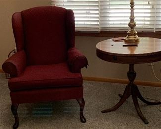 Wing back chair, lamps, occasional table