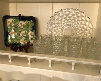 Fostoria water glasses and tray