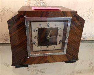 Antique walnut mantle clock
