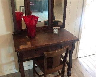 Antique tiger oak vanity with tri fold mirror