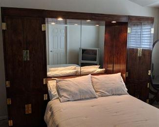 $75  Mirrored headboard with storage