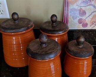 $25  orange canister set