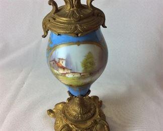 "Brass and Porcelain Urn, 11"" H."