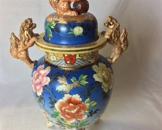 """Chinese Funeral Urn, 17"""" H."""