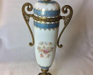 """Lidded Porcelain and Brass Urn, 16"""" H."""