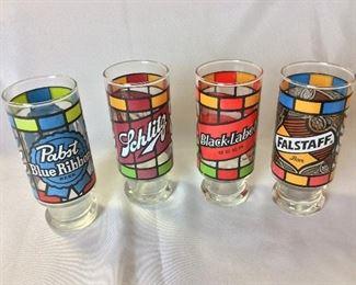Vintage Beer Glasses, Pabst Blue Ribbon, Schmitz, Black Label, Falstaff.