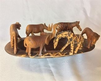 """Carved African Animals, Made in Kenya, 12"""" W."""