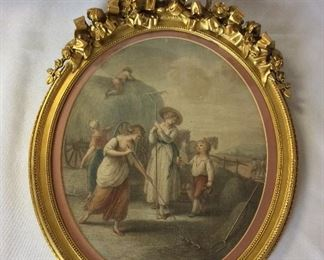 """Painting with Gilt Frame, 15 1/2"""" H."""