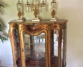 """VernisMartin Vitrine Hand Painted Glass Curio DisplayCabinet with Marble Top (cracked). Hand painted artwork byC.H. Oliver, circa 1870s.50"""" H x 50"""" W x 17"""" D."""