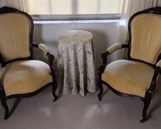 American Antebellum Rosewood Victorian Pair of Gentleman and Ladies Arm Chairs.