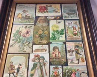 """Framed Collection of Antique Labels, 18 1/2"""" x 22 1/2""""."""
