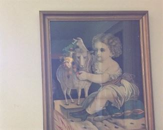Antique Framed Kellogg Print.