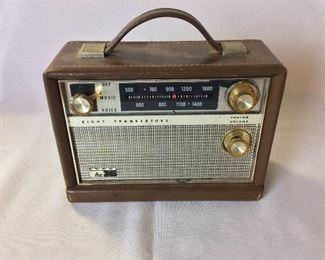 Arvin Industries AM Transistor Radio, 8 Transistors, Model 61R58 Chestnut, Top Grain Cowhide Case.