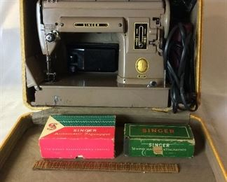 Singer 301A Sewing Machine with Case and Manual.