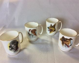 Dog Coffee Mugs, Windsor Fine Bone China, England.