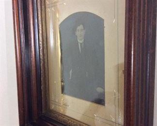 "Antique, Pre Civil War, Tintype Photograph of Man in Original Frame, 14"" x 16""."