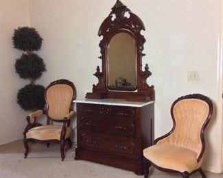 Antique Victorian Dresser and Mirror, Circa:1880.             Pair of Antique Ladies and Gentleman Chairs.