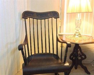 Antique StenciledBoston Rocking Chair (Signed).