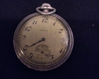 """Pocket Watch. Elgin Nat'l. Watch Co., Movement Serial No. 29503994, 1927, Size 16s, Jewels 7j, Keystone Watch Case Silveroid 472893, """"As Is""""."""