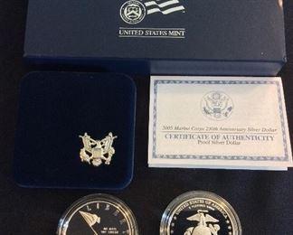 2005 Marine Corps 230th Anniversary Proof Silver Dollar.