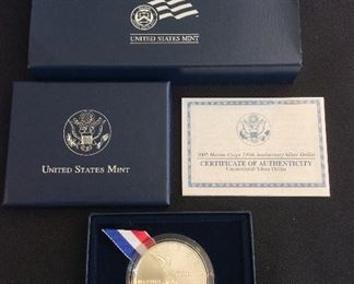2005 Marine Corps 230th Anniversary Uncirculated Silver Dollar.