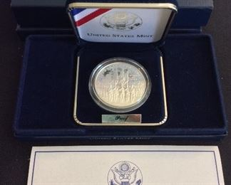 2002 United States Military Academy Bicentennial Proof Silver Dollar.