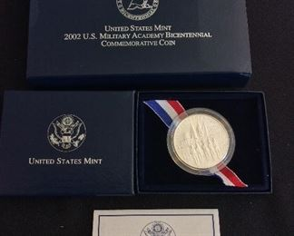2002 United States Military Academy Bicentennial Uncirculated Silver Dollar.