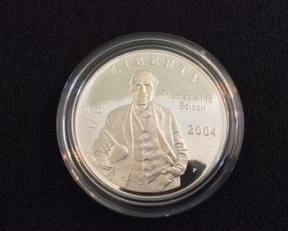 2004 Thomas Alva Edison Proof Silver Dollar.