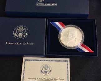 2005 Chief Justice John Marshall Uncirculated Silver Dollar.