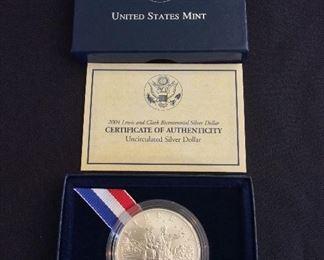 2004 Lewis and Clark Bicentennial Uncirculated Silver Dollar.