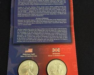Legacies of Freedom United States and United Kingdom Silver Bullion Coin Set.