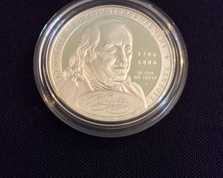 """2006 Benjamin Franklin """"Founding Father"""" Proof Silver Dollar."""