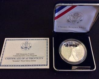 "2006 Benjamin Franklin ""Scientist"" Proof Silver Dollar."