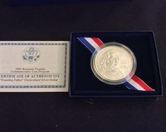 """2006 Benjamin Franklin """"Founding Fathers"""" Uncirculated Silver Dollar."""