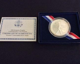 """2006 Benjamin Franklin """"Scientist"""" Uncirculated Silver Dollar."""