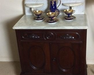 """Antique Victorian Dressing Table with Marble Top, 30"""" W x 46"""" H x 17"""" D. Circa: 1880."""