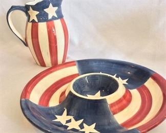 """Stars and Stripes Pitcher, 8 1/2"""" H,  and Platter, 13 1/2"""" diameter."""