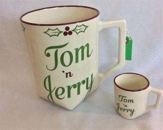 """Tom 'n Jerry Christmas Mugs. One 9"""" Mug and 12 Smaller Mugs."""