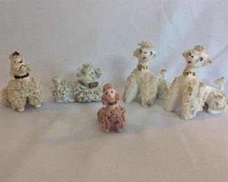 """Porcelain Poodle Dogs, 5"""" H for Tallest."""