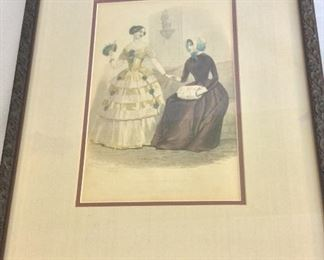 """""""Mutual Admiration"""", Godey's Fashion Plate of the Month, 12"""" x 15""""."""